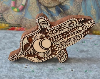 Hamsa wood block stamp large decor tribal Indian henna hand of fatima carved wooden printing tool stencil print making decor, protection