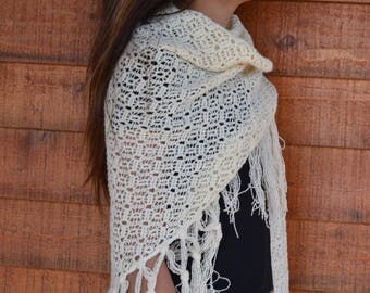 White wool shawl vintage triangle bohemian luxury gypsy crotchet scarf romantic tassel fringe hand knit yarn pattern knitted crochet boho
