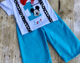 First Birthday Mickey Mouse inspired Bodysuit with Suspenders Bow tie, and matching pants
