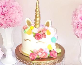 Unicorn Fondant cake topper set