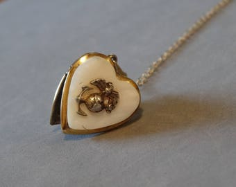 Vintage Gold Filled Heart Locket Necklace White Mother of Pearl w 14K GF Chain WW2 Navy Military Sweetheart Jewelry