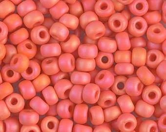 6/0 Matte Opaque Orange AB Miyuki Seed Beads, 16 Grams, 6-406FR Matte Opaque Orange AB, 4938