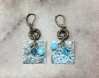 AUGUST SALE Light Blue Ocean Reef earrings Sizzix Vintaj Czech glass beads Nautical Embossed Earrings gift ideas for her