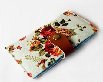 SALE 20% iPhone 7 Case, iPhone 7 Plus Sleeve, iPhone 6 case, Samsung Galaxy Phone Wallet, Padded Phone Case - Vintage Flowers