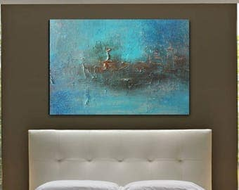 INCA Original Modern Abstract Textured Art Painting Turquoise Bronze Landscape Blue Brown Earthy Bedroom Home Decor Living Room Wall Hanging