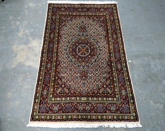 Persian Rug - 1990s Hand-Knotted Moud Rug (3672)