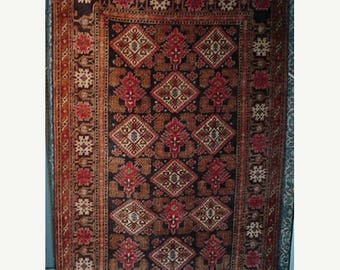 SUMMER CLEARANCE 1980s HandKnotted Pure Silk Afghani Rug (2076)