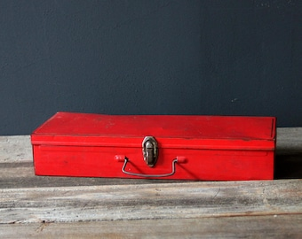 Vintage Rustic Worn Red Metal Tin with Lid and Handle