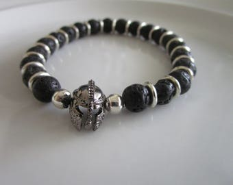 Men's black lava beaded bracelet with gray warrior helmet charm - gift idea - black men's bracelet - helmet charm bracelet - gift for men