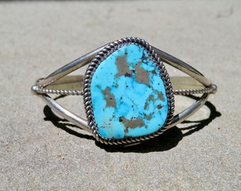 Turquoise and Silver Large Stone Cuff, Vintage Navajo Turquoise Bracelet, Native American Turquoise Sterling Jewelry, Signed Navajo Cuff