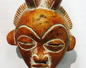 Vintage Brown Hand-polished West African Passport Mask