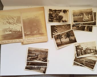 Vintage Photo Pack of San Remo Italy 14 photos (D), scenery, ephemera junk journals scrapbooks smashbook, sepia, black and white