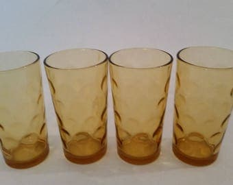 Mid Century Glassware Set of 4 Drinking Glasses 1970's Amber Glass Dot Textured Tumblers Modernist Glasses