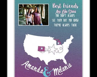Best friend gift long distance gift for friend going away, gift for friend, birthday gift for friends, distance quote, glitter map photo mat