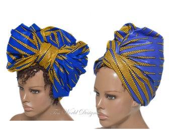 Headwrap scarf/ Royal blue Head wrap / Headwrap women/ African Hair Wraps/ Headwrap/ African Head scarf/ African head wraps, brown / HT241