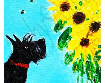 Scottie Dog Art Print Scottish Terrier 'Sunflowers & Bees'