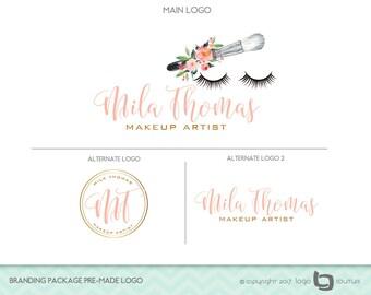 Makeup Logo Design, Branding Package Premade Logo, Set of 3 Logos,  Makeup Artist Logo,  Eyelash Logo, Beauty Salon Logo, Makeup Branding