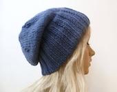Blue Wool Alpaca Slouchy Beanie, Women's Slouch Beanie, Hand Knit Hat, Hand Knitted Slouch Beanie, Winter Eco Wool Ha, ClickClackKnits
