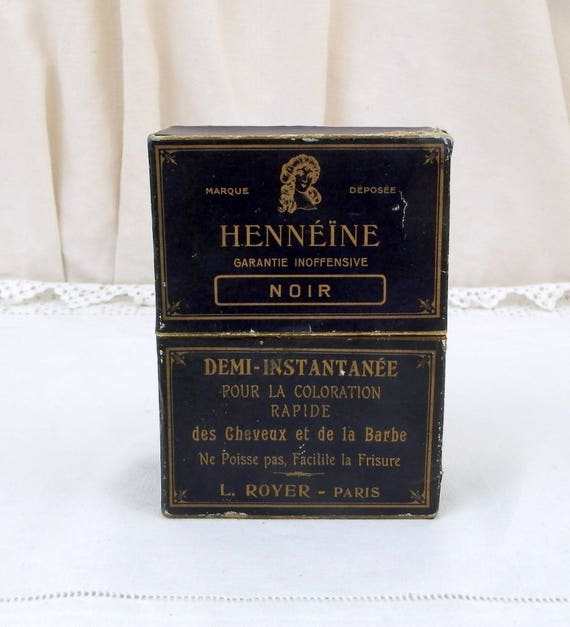 """Antique French Box Originally Contained Hair and Beard Black Dye """"Hennéine"""" by L.Royer Paris, Vintage Hair Styling From France, Collectible"""