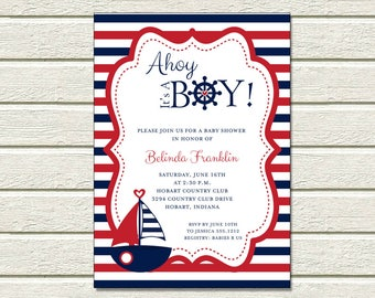 Nautical Sailboat Invitation | Baby Shower | Printable Editable Digital PDF File | Instant Download | BSI348DIY