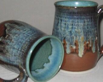 Pottery Mug, XL 20 oz Rainforest Brown and Green, Handmade, Microwave Dishwasher Safe