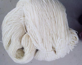 3+ lbs Worsted Weight Wool Yarn - 2ply - white