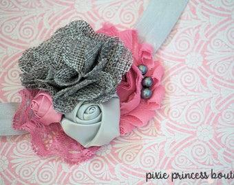 Charmed - Headband, Baby Headband, Photography Prop, Couture Headband, Hair Clip, Vintage Headband, Shabby Chic Headband, Rose and Grey