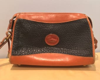 Vintage Navy Blue and Brown Dooney and Bourke All Weather Leather Cross Body Bag