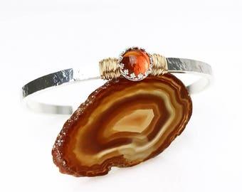 Fire Opal Bracelet / October Birthstone Gift for Wife / American Mined Oregon Fire Opal Sterling Silver Cuff / 14k Gold Filled Opal Bracelet