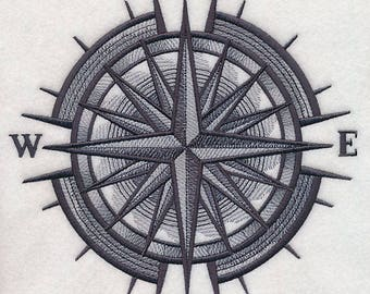 Mariner's Compass Sketch Embroidered on Made-to-Order Pillow Cover