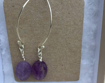 Amethyst Drop Earrings, Handmade Sterling Silver Gemstone Earrings, Designer Amethyst Dangle Earrings