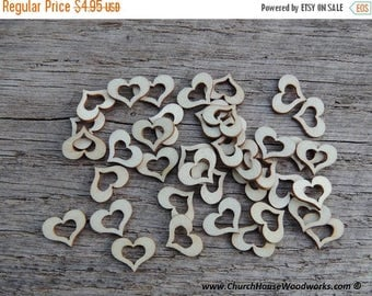 """Summer SALE 50 qty 1/2"""" Wood Hollow Hearts, Wood Confetti Engraved Love Hearts- Rustic Wedding Decor- Table Decorations- Small Wooden Hearts"""