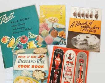 Vintage Lot of 5 Cookbooks Recipes Blue Book Ball Riceland Brazil Nuts Christmas Frozen Desserts