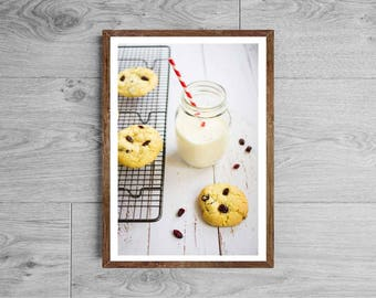 Baking photography - Food photography cookies and milk glass - Milk photography - Pastry photography - Kitchen decor - kitchen art