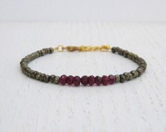 Pyrite bracelet, Red garnet bracelet, January birthstone bracelet