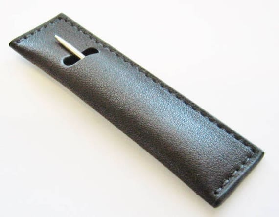 ARTISAN..Sterling Silver (.925) Toothpick, W/Leather Sleeve. Made By: Steve Haddad