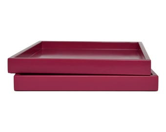 Decorative Tray for Coffee Table, Lacquer Wood Serving Tray, Coffee Table Tray, Ottoman Tray, Catchall, Pink Tray, Entryway Organizer