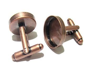 400pcs antique copper 100pcs antique brass 16mm cufflink blank bezel back  Antique brass plated  for DIY Jewelry Making