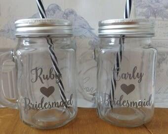 Personalised Mason Jar Wedding Jar Hen Party Bridesmaid gift Pageboy Gift