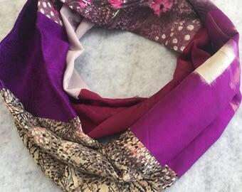 Magenta and purple silk kimono infinity scarf