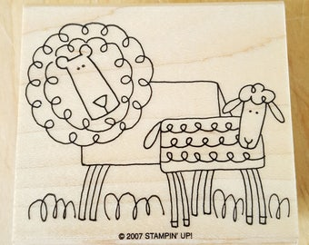 Lion and Lamb Rubber Stamp retired from Stampin Up