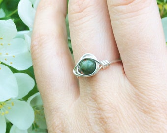 Sterling Silver Jade Ring, Wire Wrapped Ring, Size 7.5