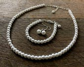 White Set Flower Girl Pearl Necklace Bracelet Earring One Single Strand Simple Pearl Necklace Bracelet Earrings on Silver or Gold