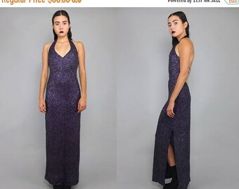 30OFF Vtg 90s Purple Iridescent Cage Cut Out Backless Bandage Sparkle Maxi Dress M