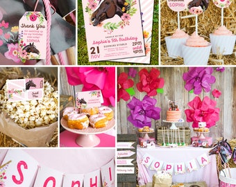 Horse Birthday Party Decorations - Horse Party Decor - Pink Horse Party Printables - Instantly Download and Edit at home with Adobe Reader