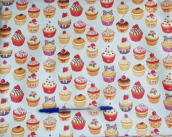 "Laminated cotton fabric ""Cupcakes"""