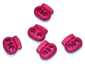 Bright Pink Paracord Cord Locks - Double Hole Cord Lock - Parachute Cord Accessories Two 5mm holes