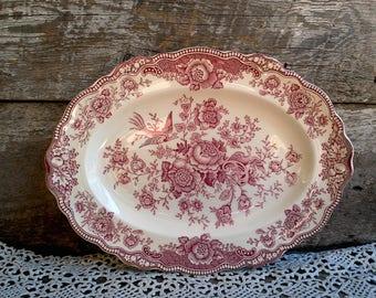 Platter, Crown Ducal Bristol Red Transferware, Made in England  c. 1930s, Kitchen, Serving Platter, Pheasants