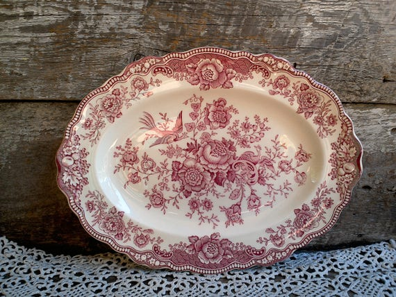 Platter, Crown Ducal Bristol Red Transferware, Made in England  c. 1930s, Kitchen, Serving Platter, Pheasants