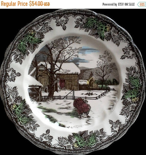 Vintage Johnson Brothers Friendly Village Turkey Plate Thanksgiving Plate Serving Plate Polychrome Plate England Plate